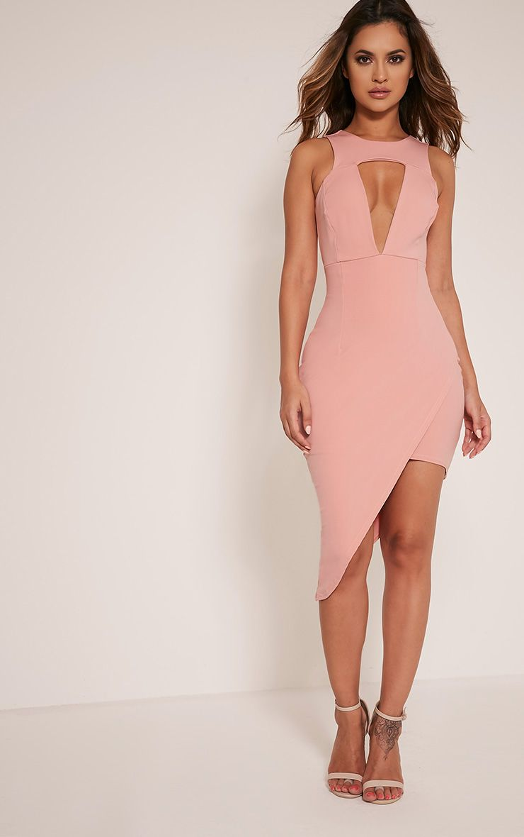 Eron Rose Cut Out Plunge Asymmetric Mini Dress 1