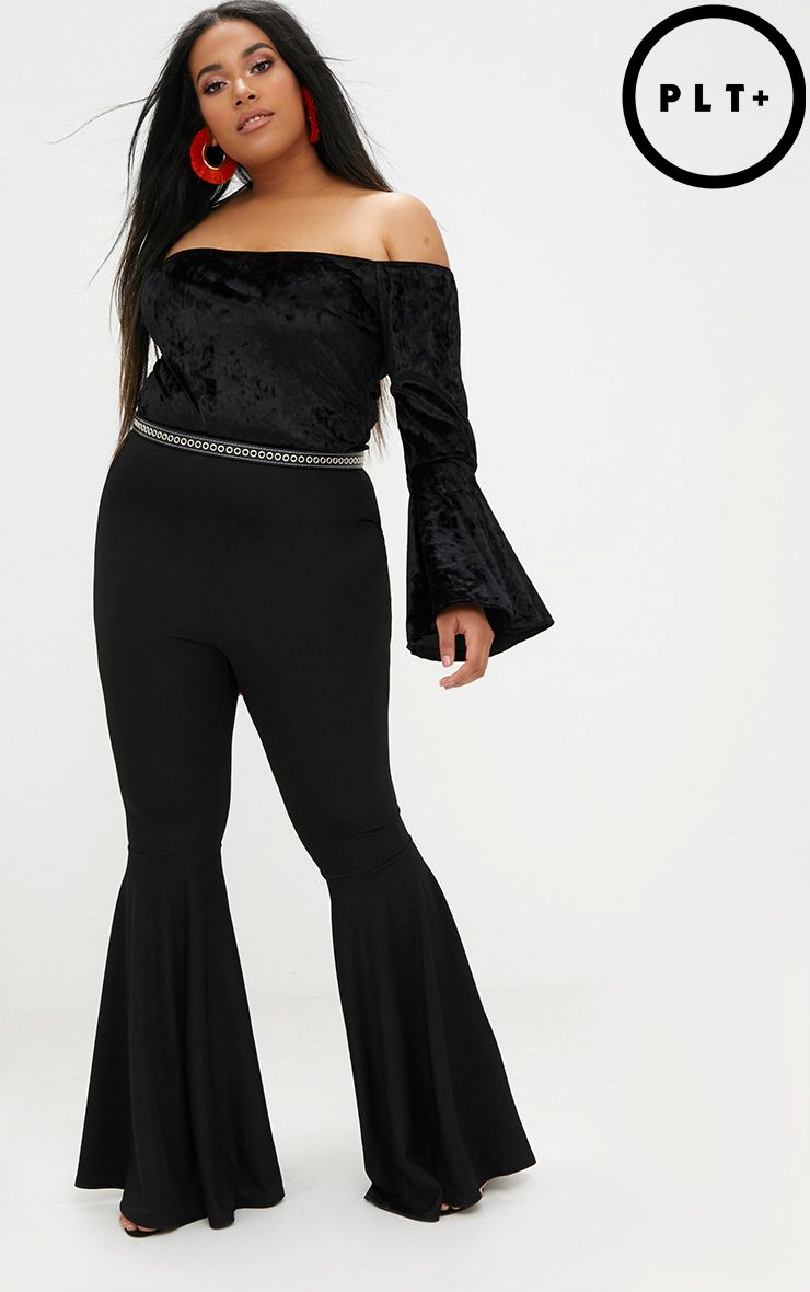 Plus Black Fit and Flare Leg Trousers