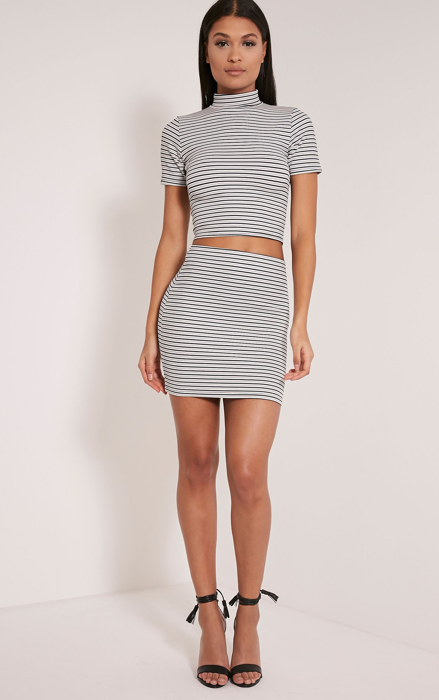 Leoni White Stripe Mini Skirt 1