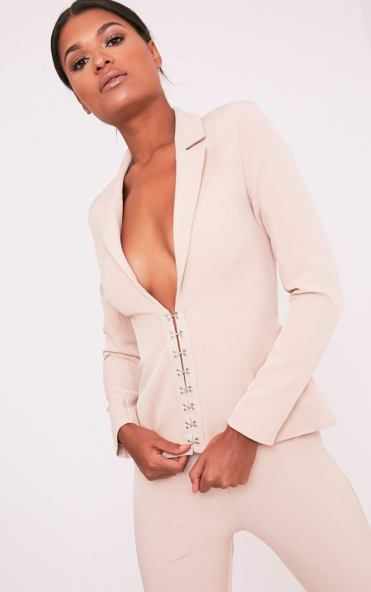 Ryena Nude Hook & Eye Detail Suit Jacket