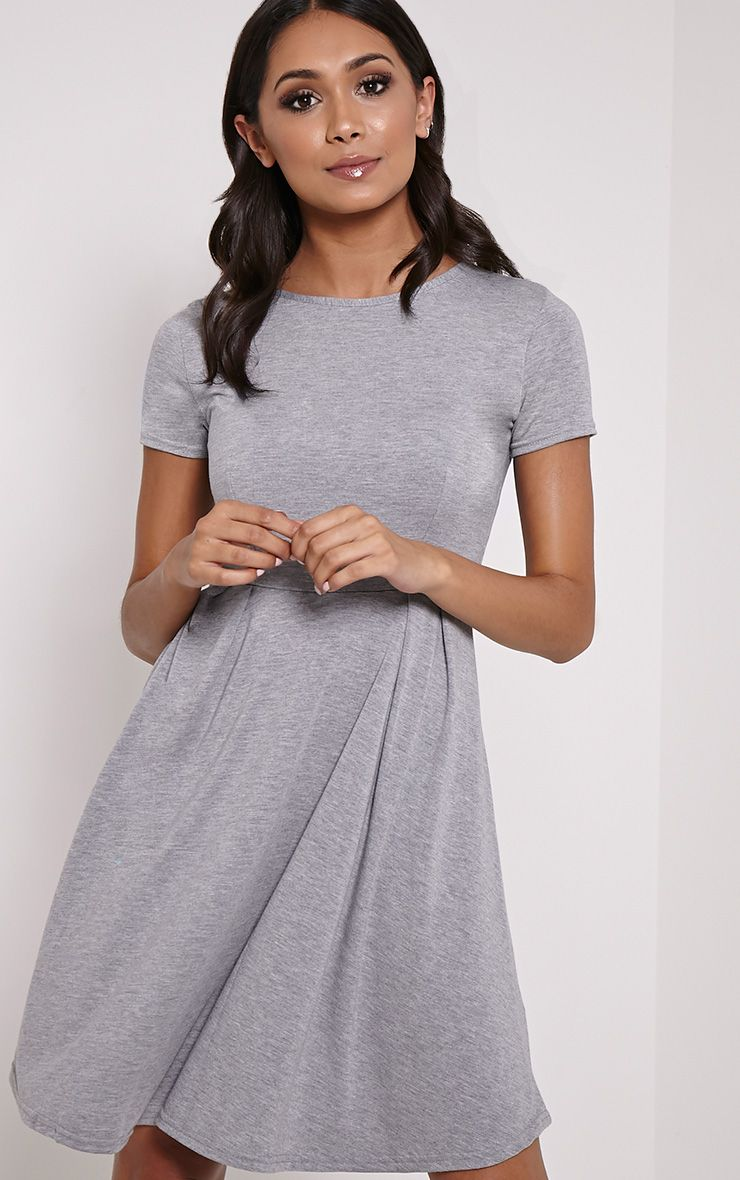 Basic Grey Cap Sleeve Skater Dress 1