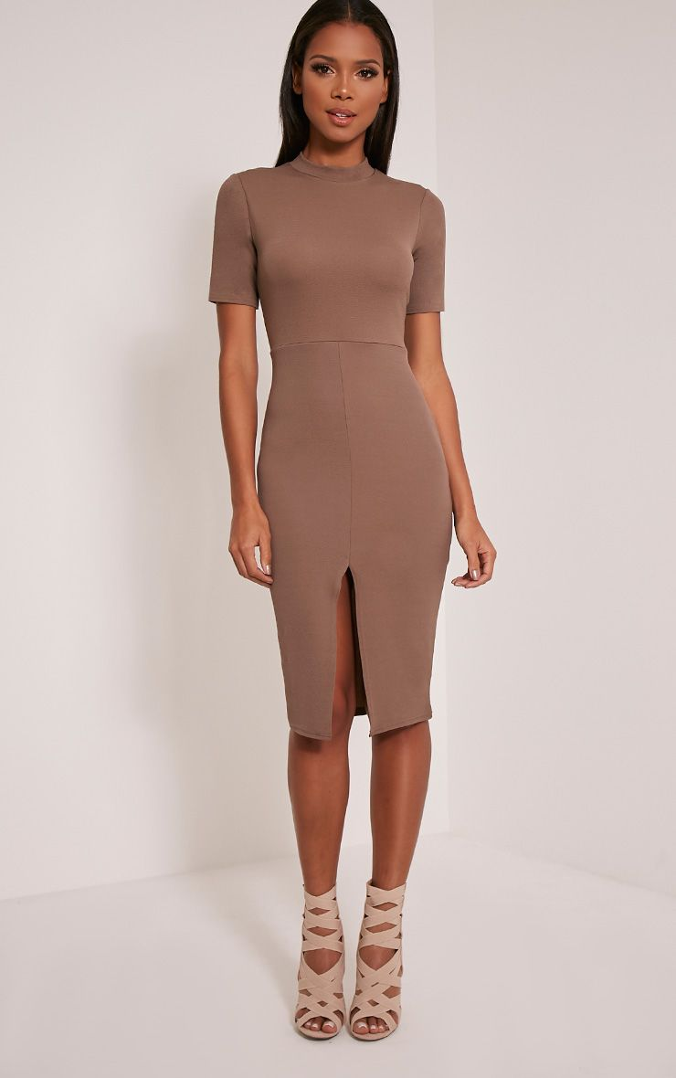 Sana Taupe Crepe Split Front Midi Dress 1