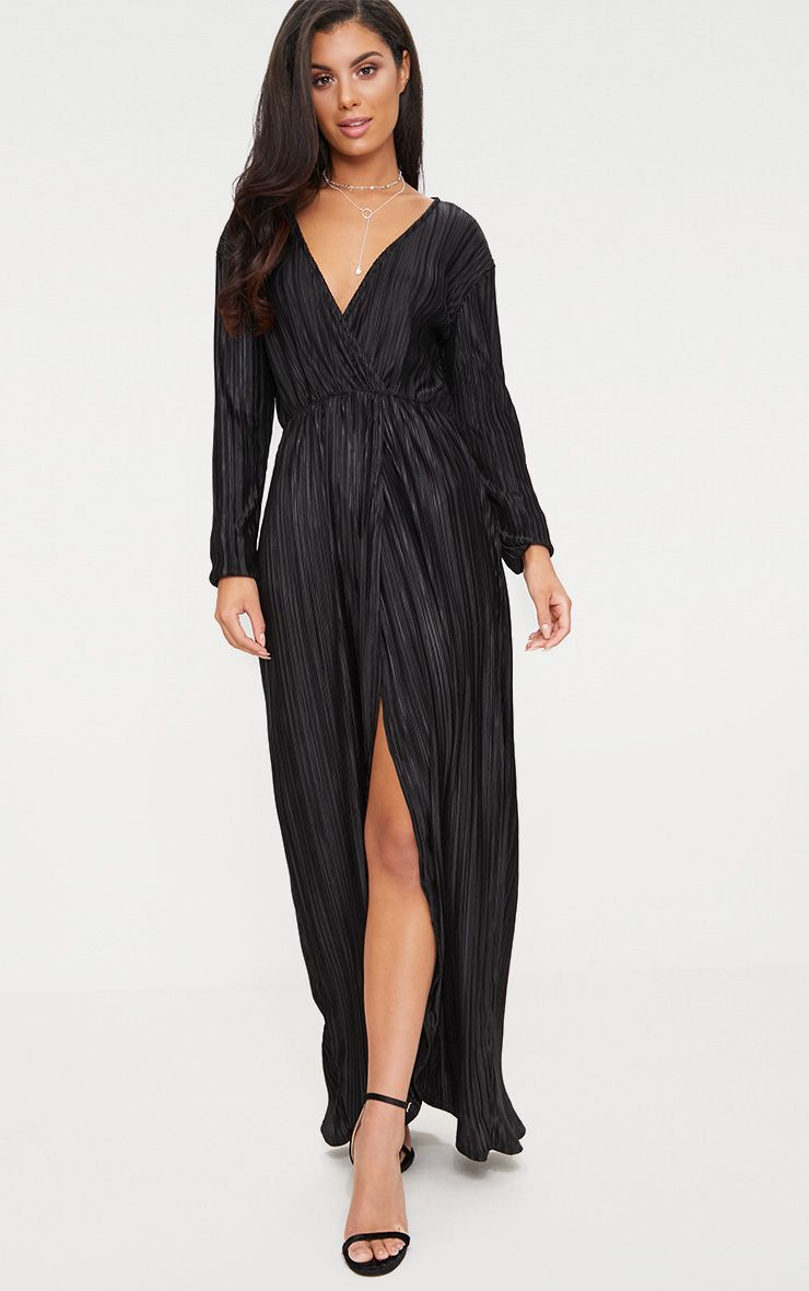 Black Pleated Wrap Front Long Sleeve Maxi Dress
