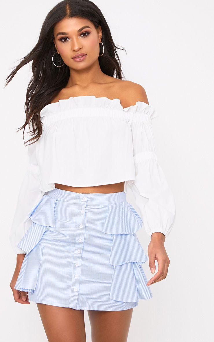 Lunetta Blue Stripe Ruffle Shirt Skirt