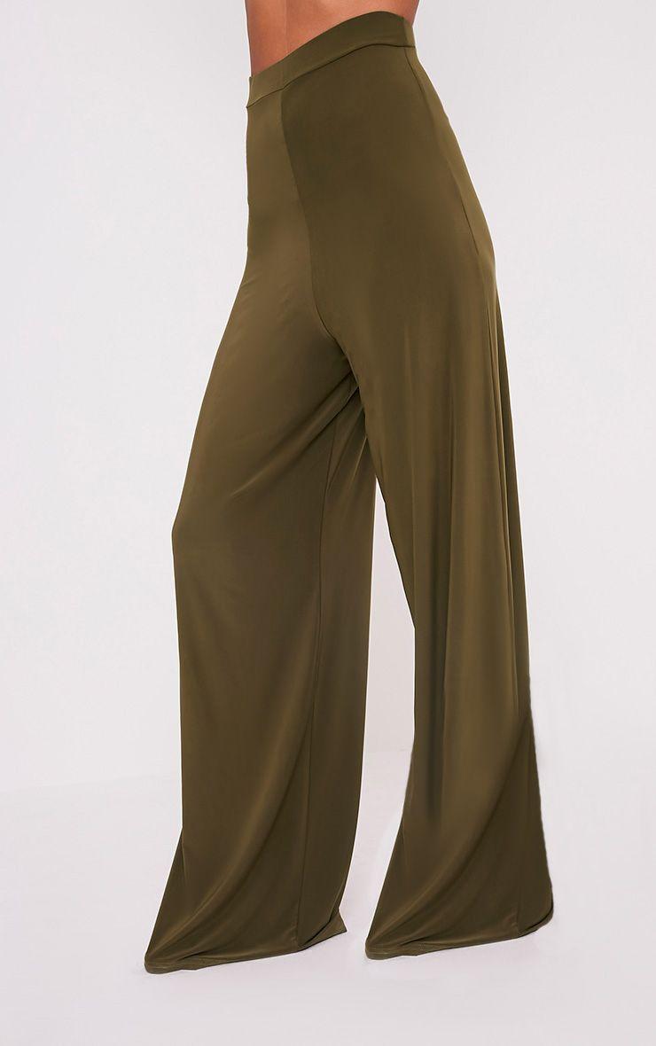 Jill Khaki Slinky Palazzo Trousers 4