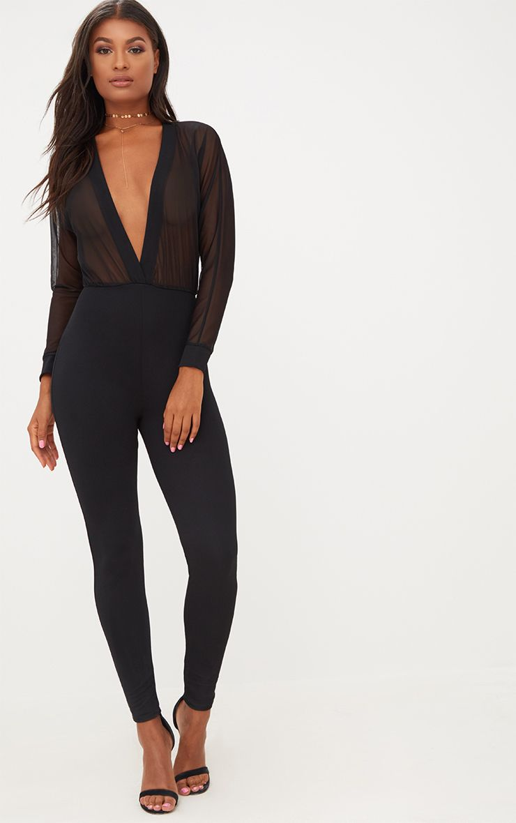 Black Mesh Plunge Long Sleeve Jumpsuit