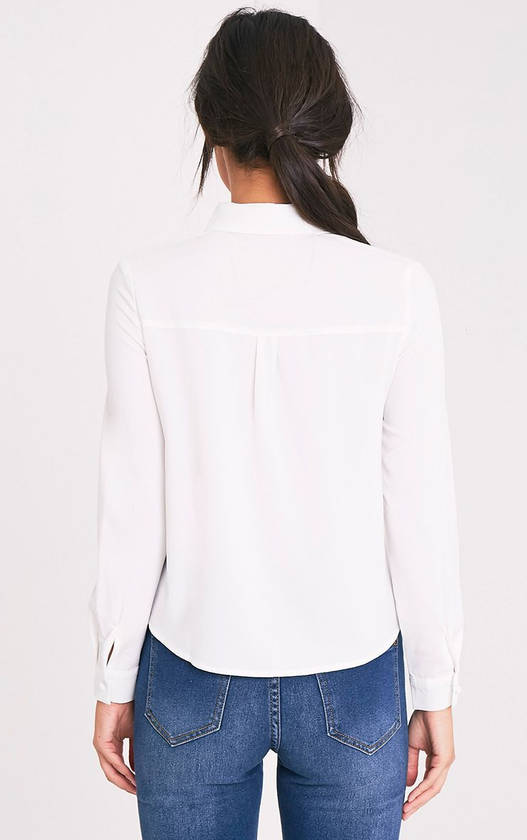 Loulou Cream Crop Long Sleeve Shirt