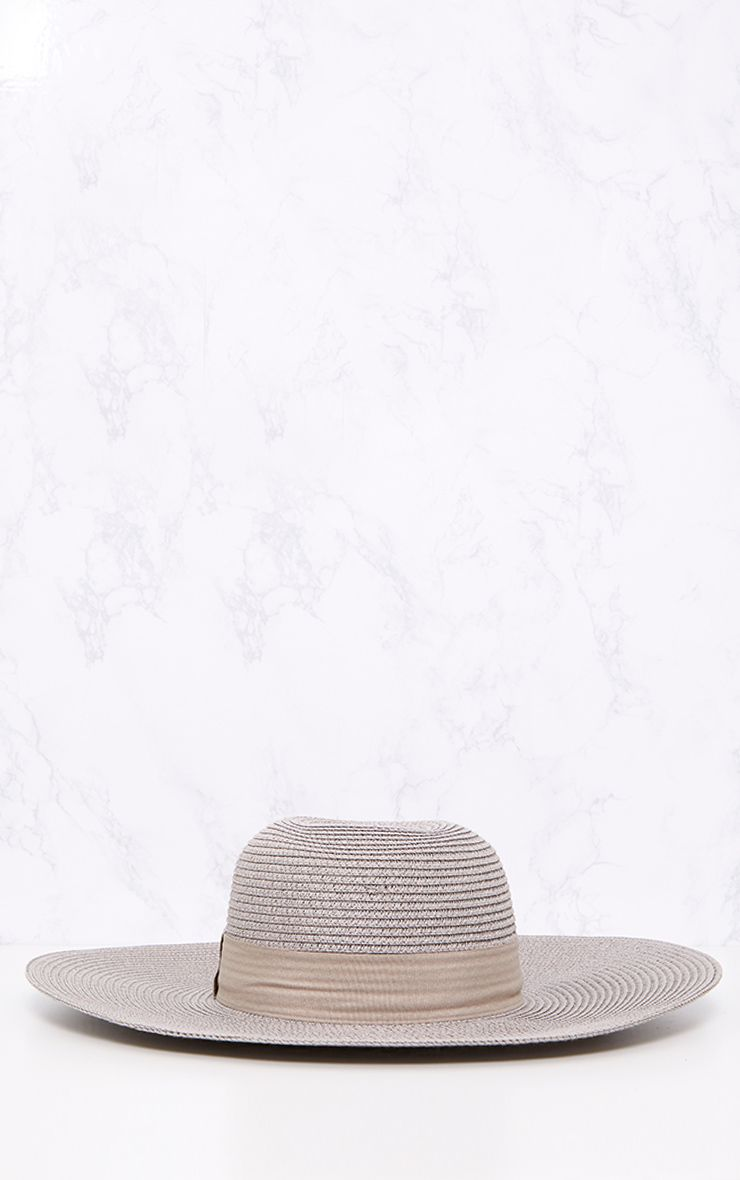 Grey Wide Brim Straw Sun Hat 3