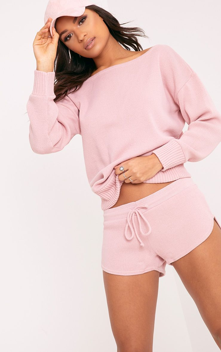 Otaline Pink Short and Jumper Knitted Lounge Set