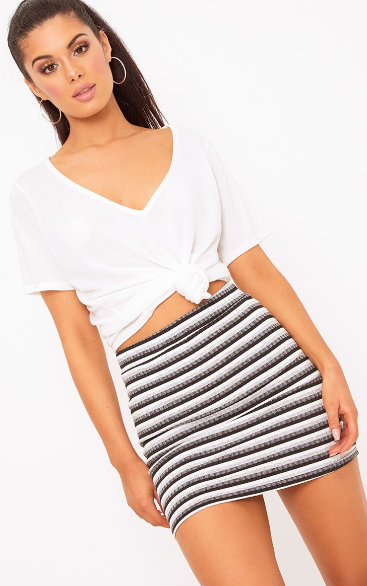 Black Ribbed Stripe Mini Skirt