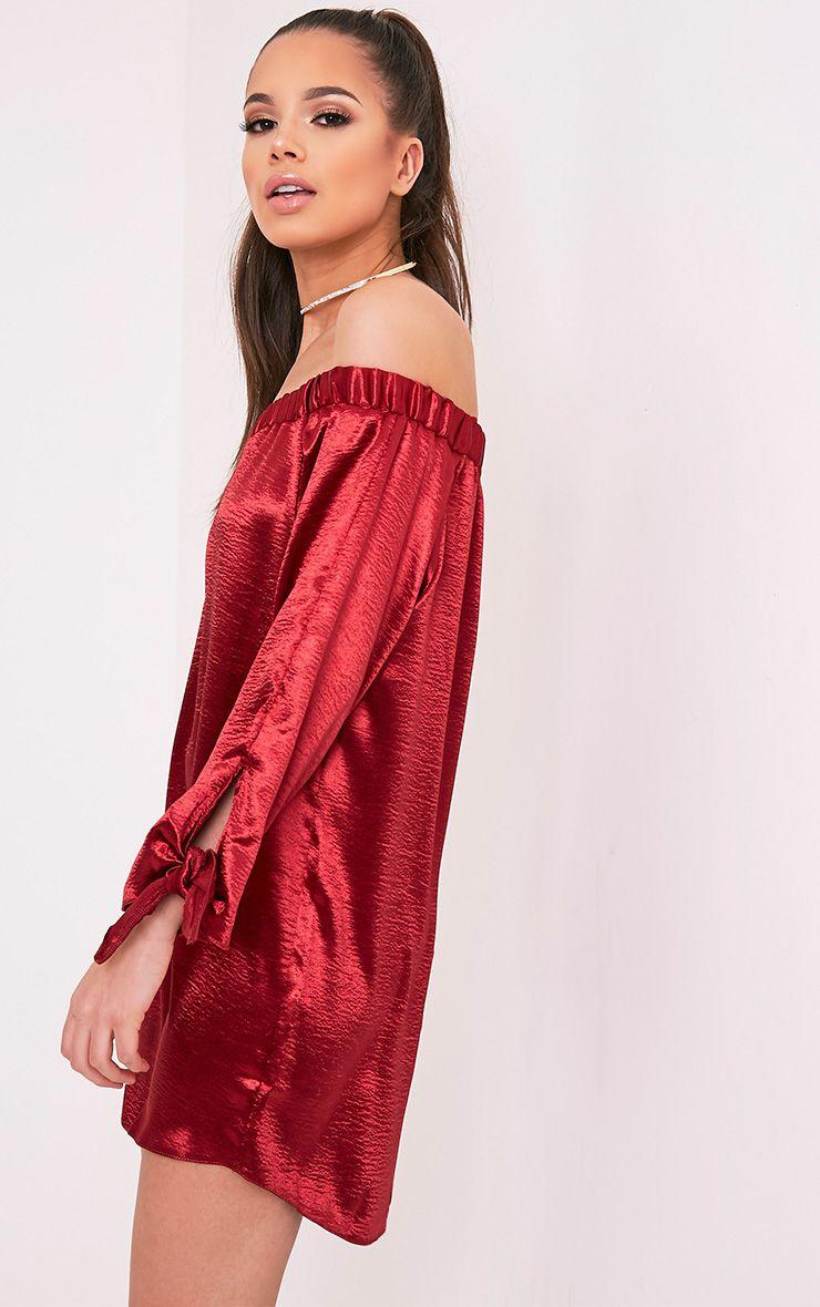 Cay Red Satin Bardot Shift Dress 1