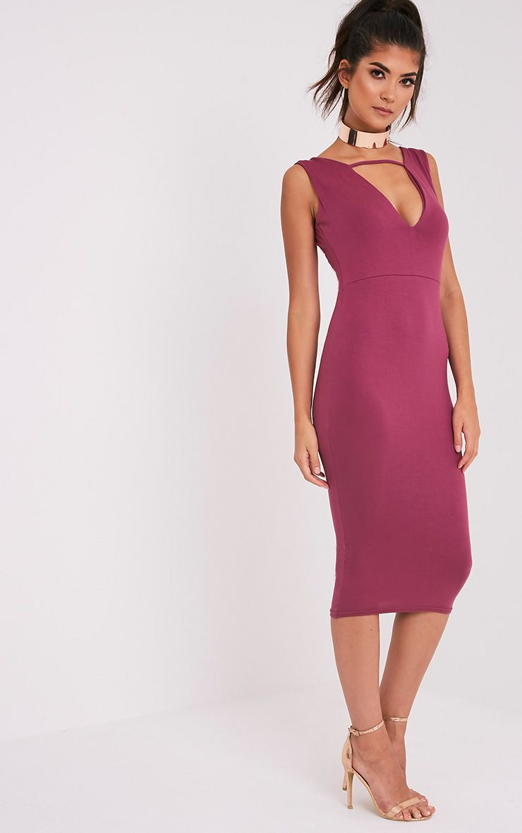 Basic Aubergine Strap Detail Plunge Midi Dress
