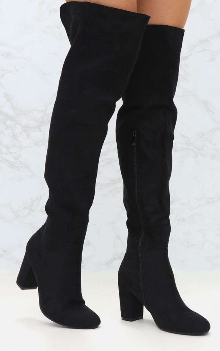 PRETTYLITTLETHING Microfibre Mid Heel Thigh Boot