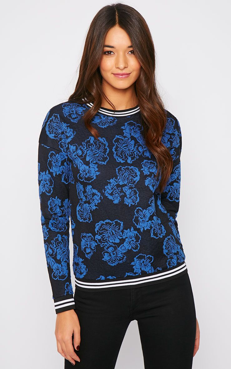 Valentina Blue Floral Embroidered Sports Trim Sweater 1