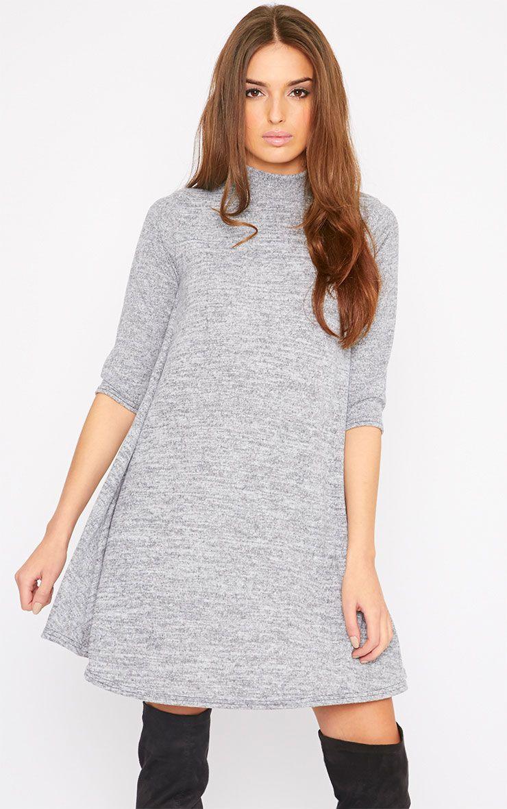 Haden Grey Turtle Neck Knitted Swing Dress  1