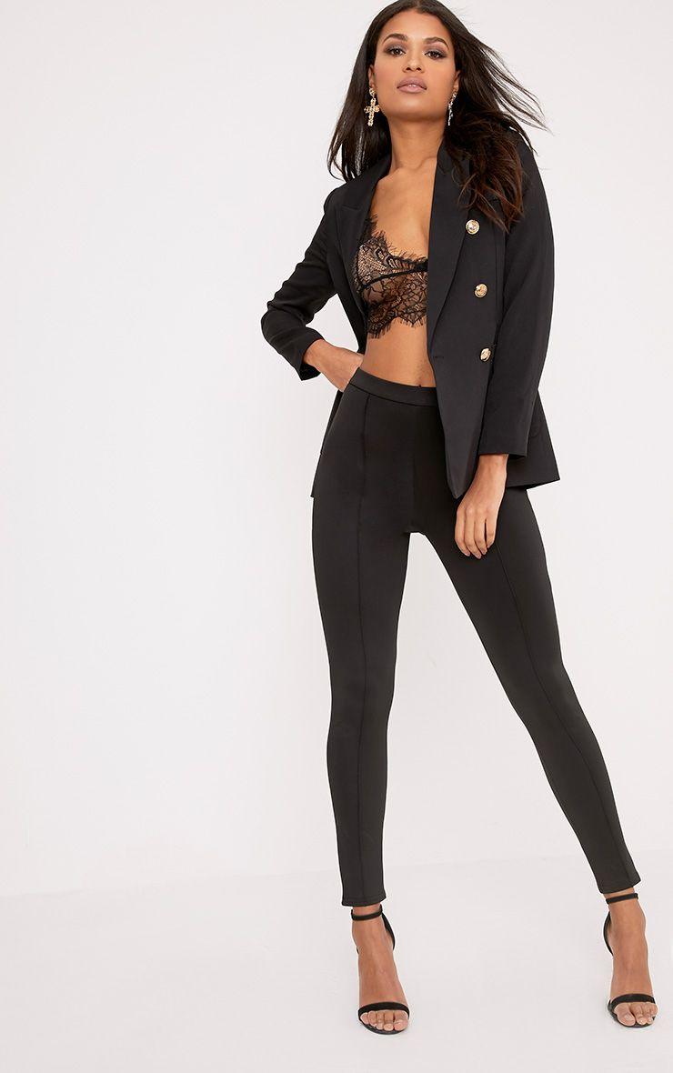 Larena Black Front Seam Skinny Trousers