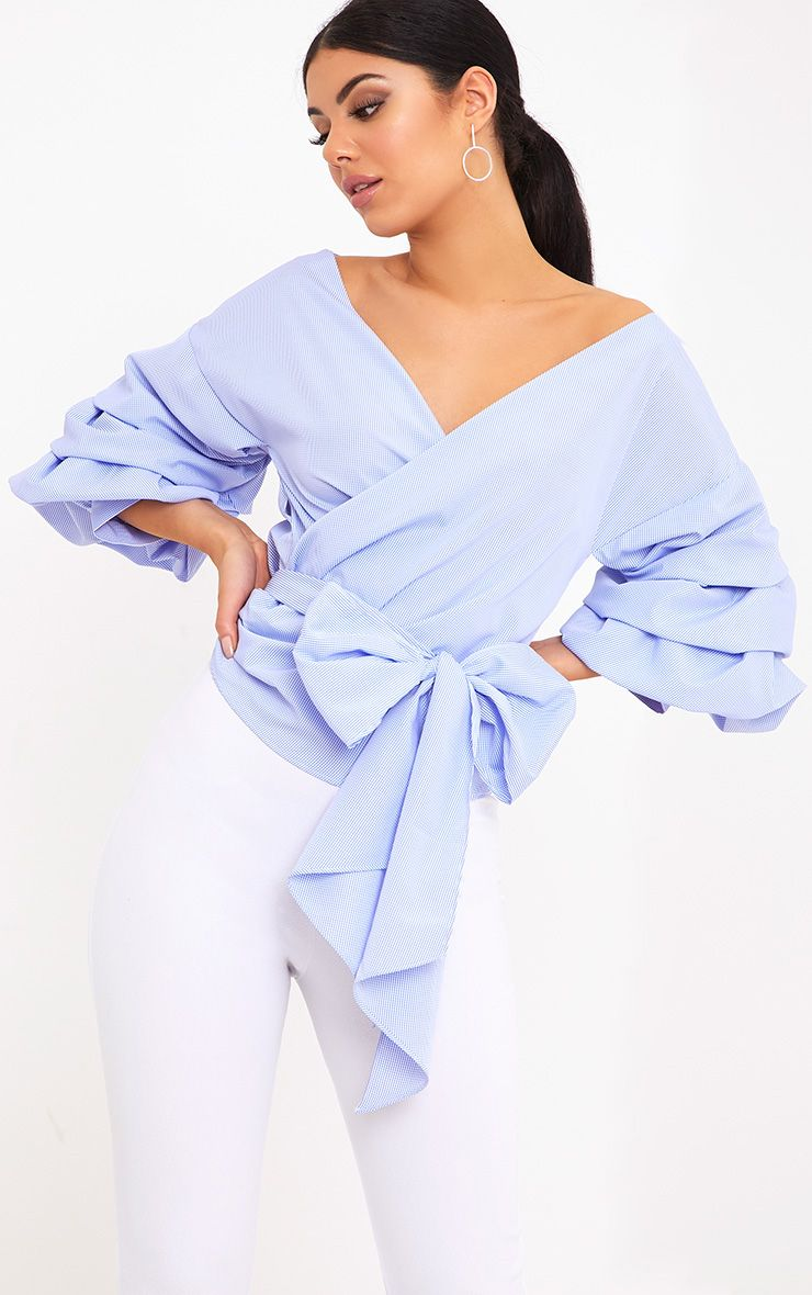 Marlow Blue Check Oversized Ruffle Sleeve Low Shoulder Shirt
