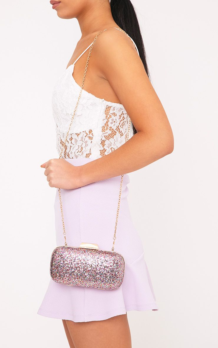 Emere Multi Glitter Box Clutch