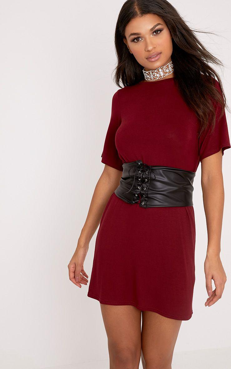 Reanna Burgundy Corset T Shirt Dress