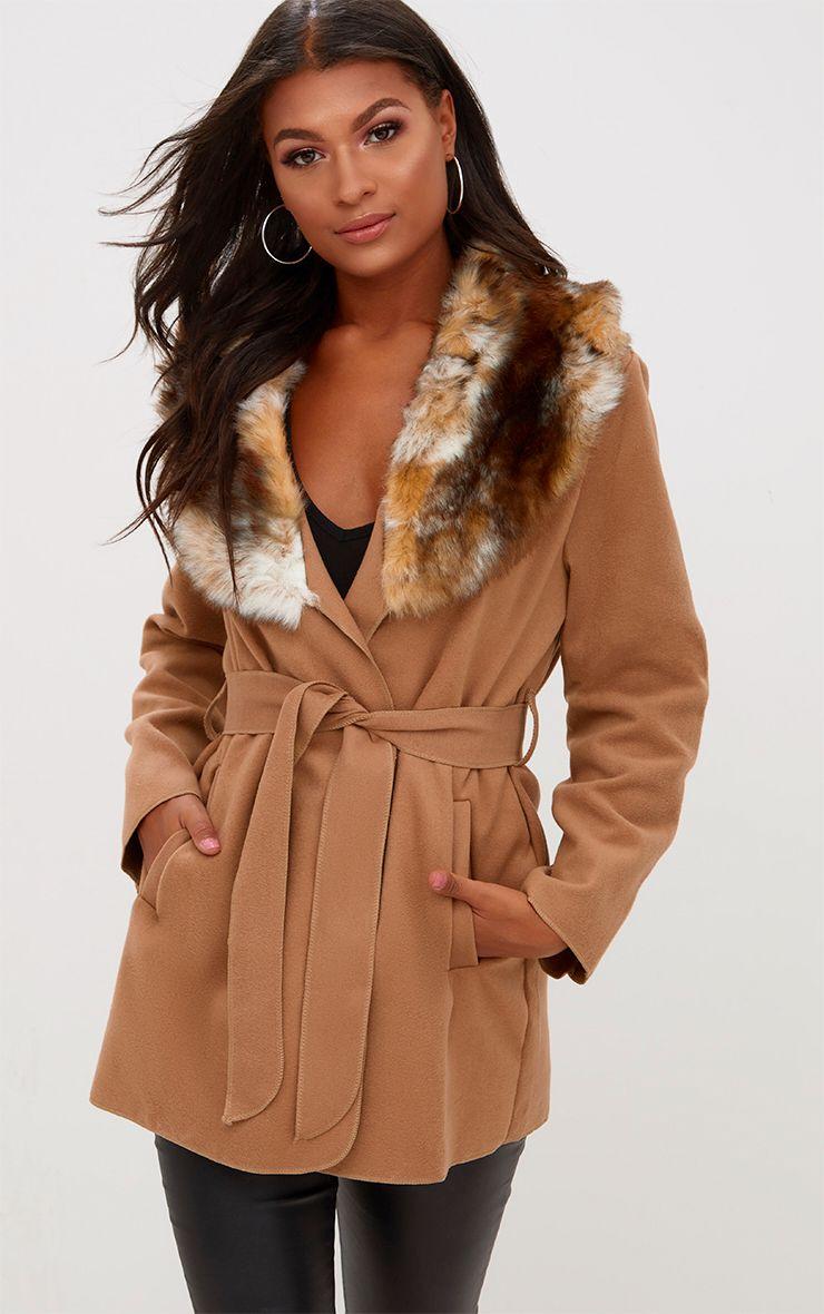 Lydia manteau camel effet cascade bordé de fausse fourrure 1