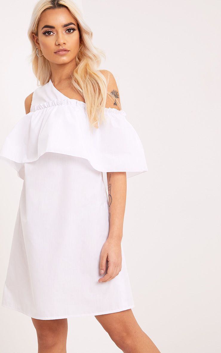 Katarinnah White One Shoulder Frill Shift Dress