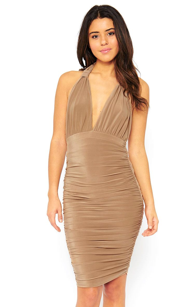 Ambrosia Camel Plunge Neck Ruched Side Dress 1