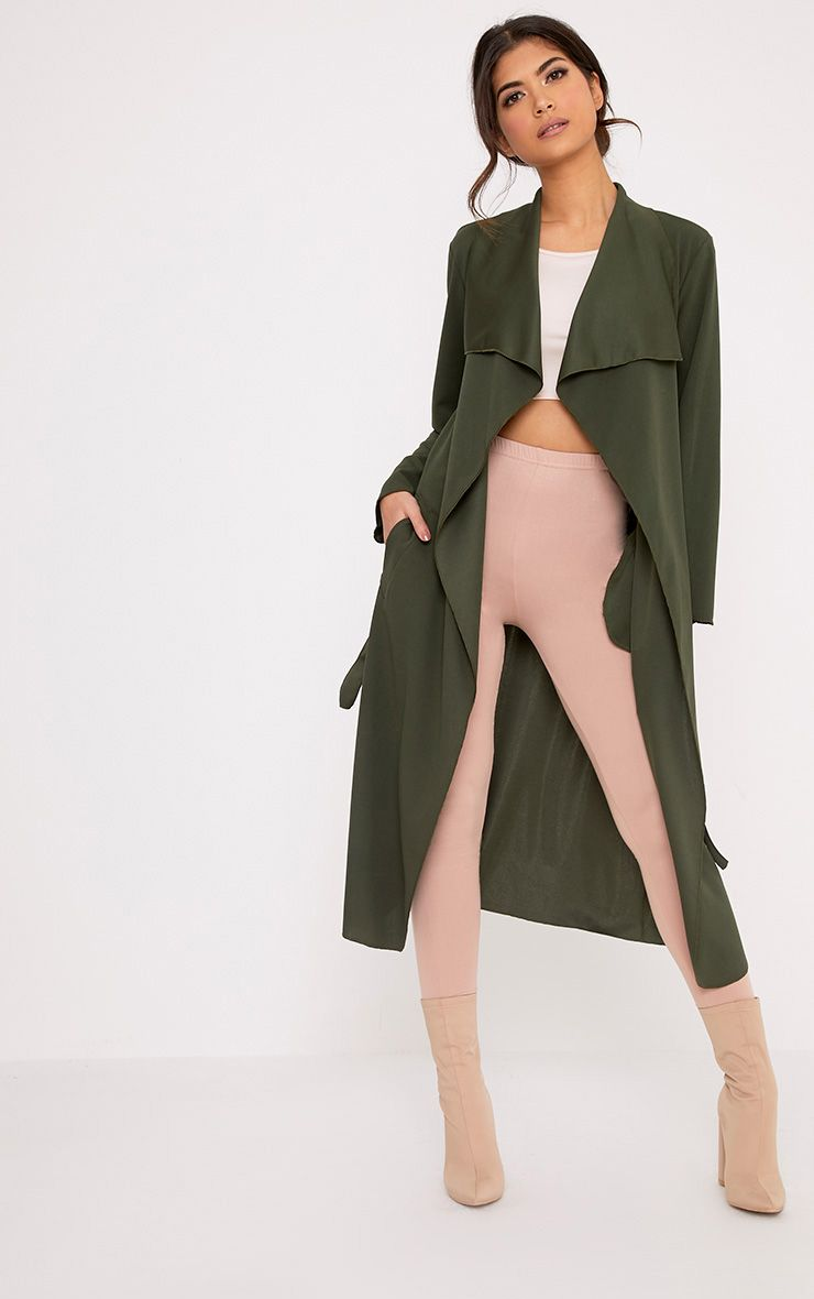 Livia Khaki Lightweight Belted Waterfall Jacket