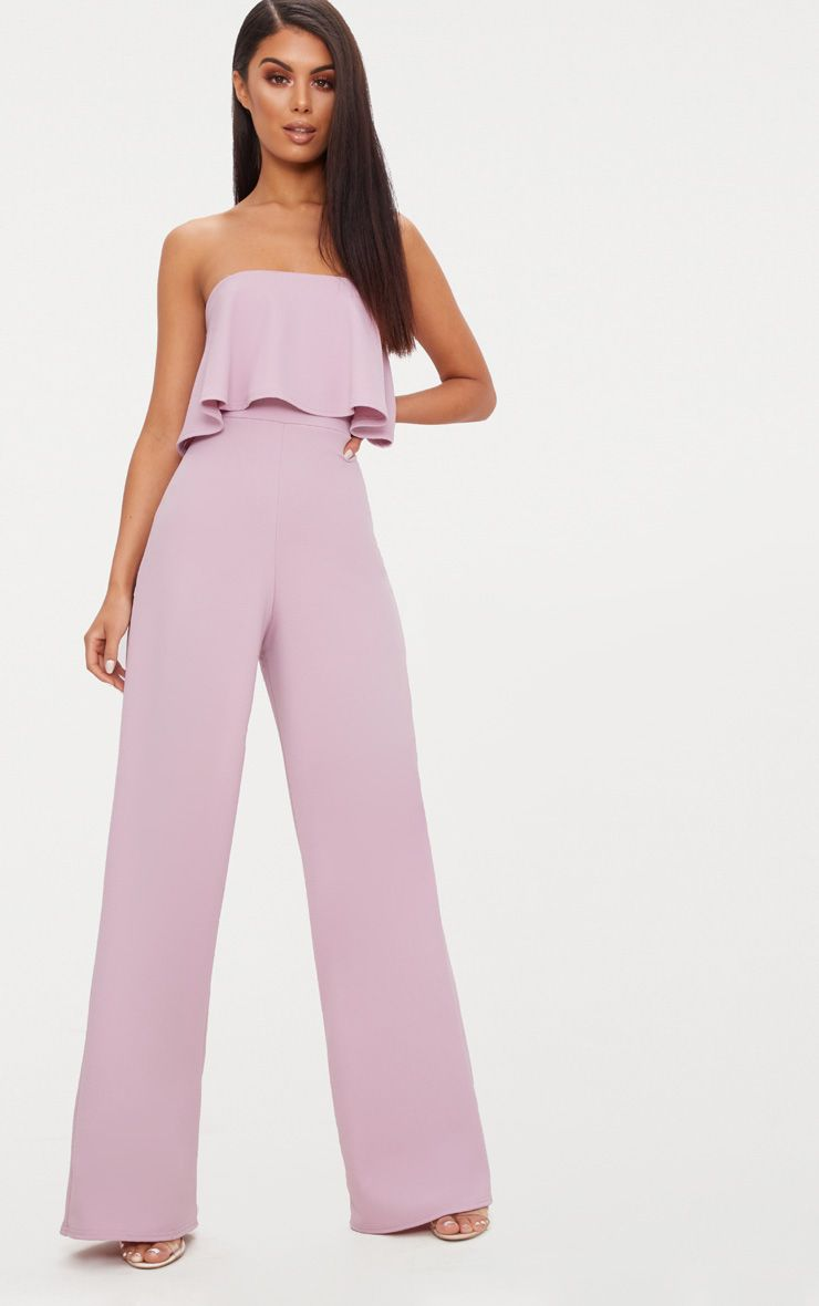Mauve Bardot Double Layer Jumpsuit
