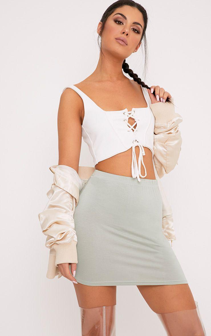 Basic Sage Green Jersey Mini Skirt 1