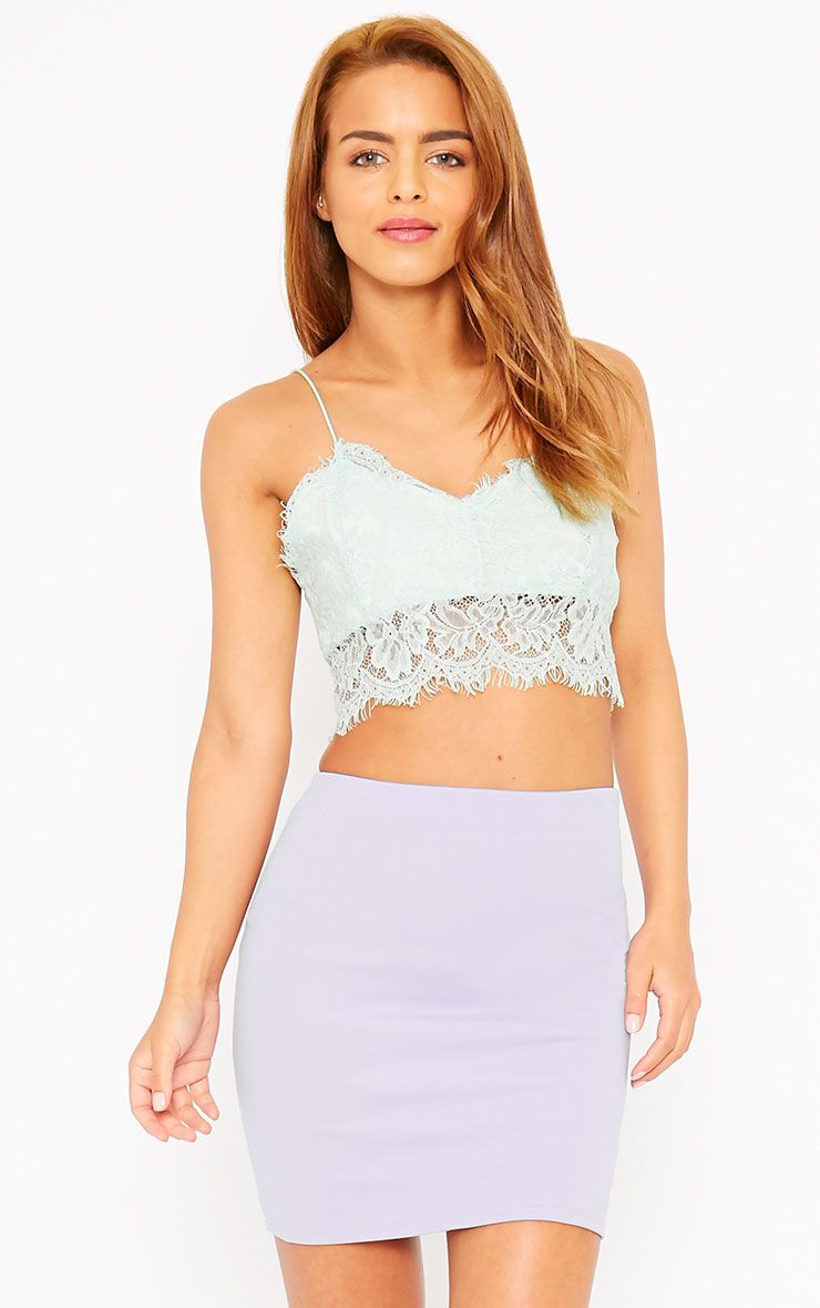 Basic Lilac Scuba Mini Skirt 1