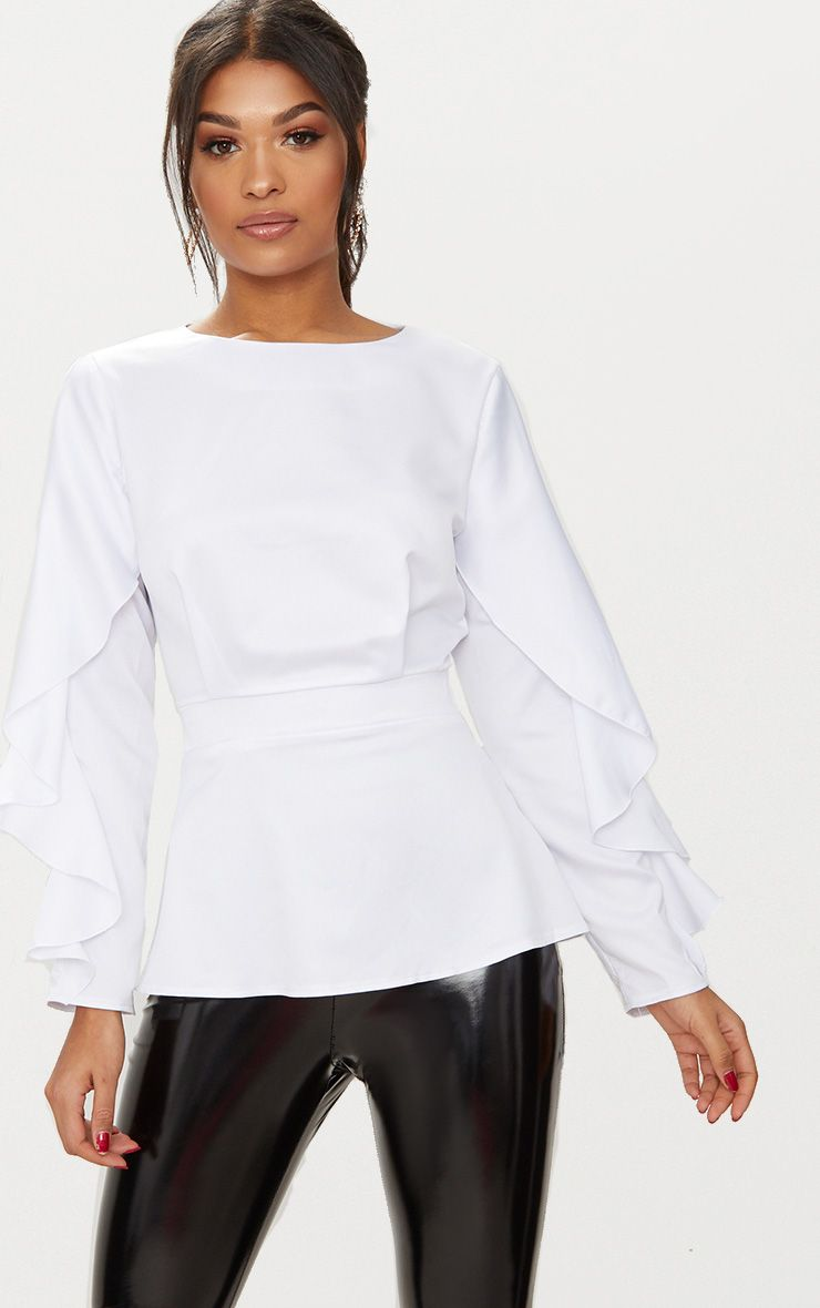 White Satin Frill Sleeve Fitted Blouse