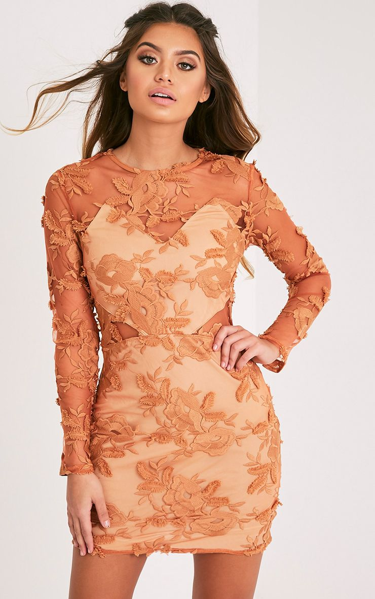 Rayah Tobacco Floral Applique Long Sleeve Bodycon Dress