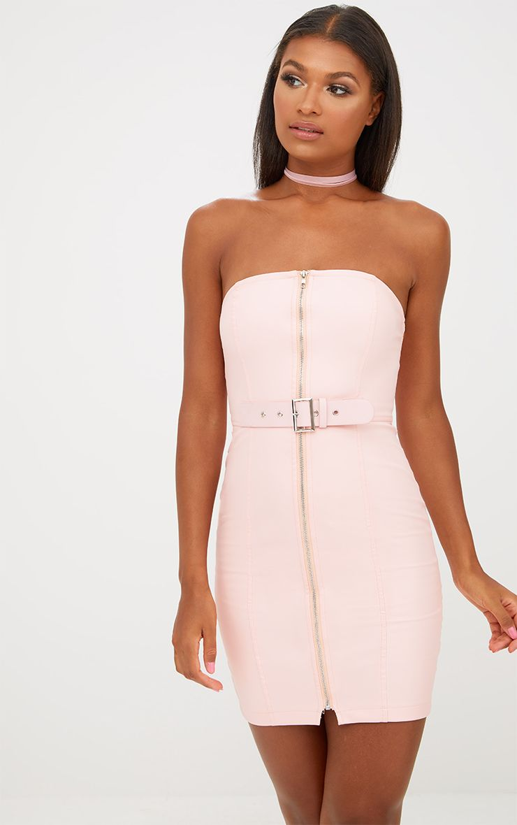 Nude Faux Leather Belt Detail Bodycon Dress