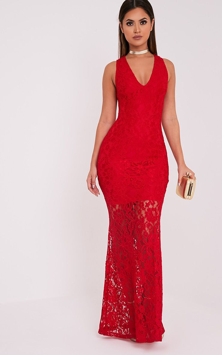 Tarra Red Lace Fishtail Maxi Dress 1