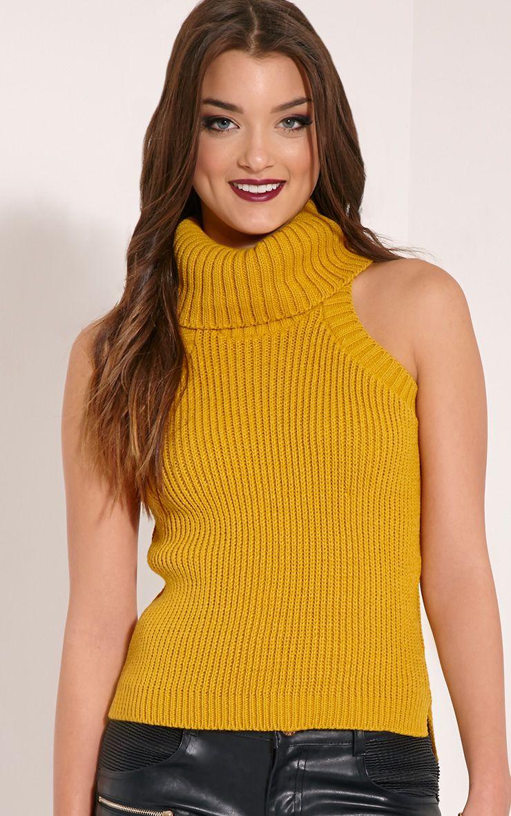 Rosanna Mustard Roll Neck Sleeveless Jumper 1