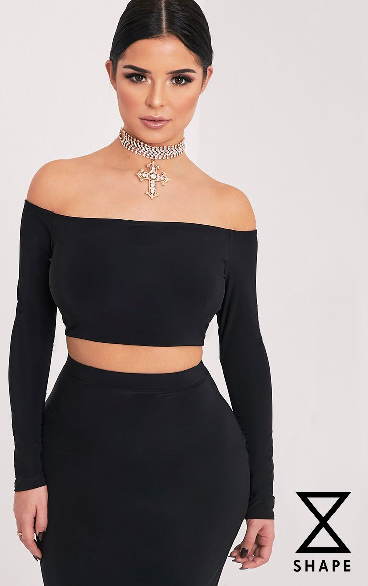 Shape Ellicia Black Slinky Bardot Crop Top