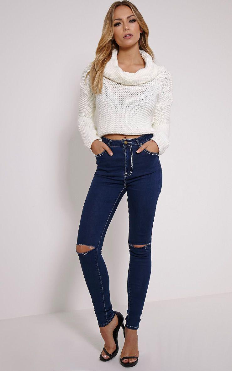 Sabrina Blue Ripped Skinny Jean 1