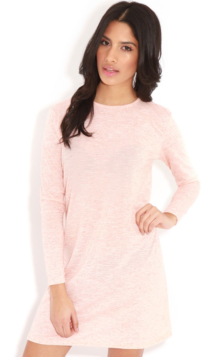 Callie Peach Long Sleeve Swing Dress 1