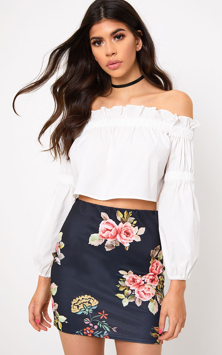 Black Floral Embroidered Print Mini Skirt