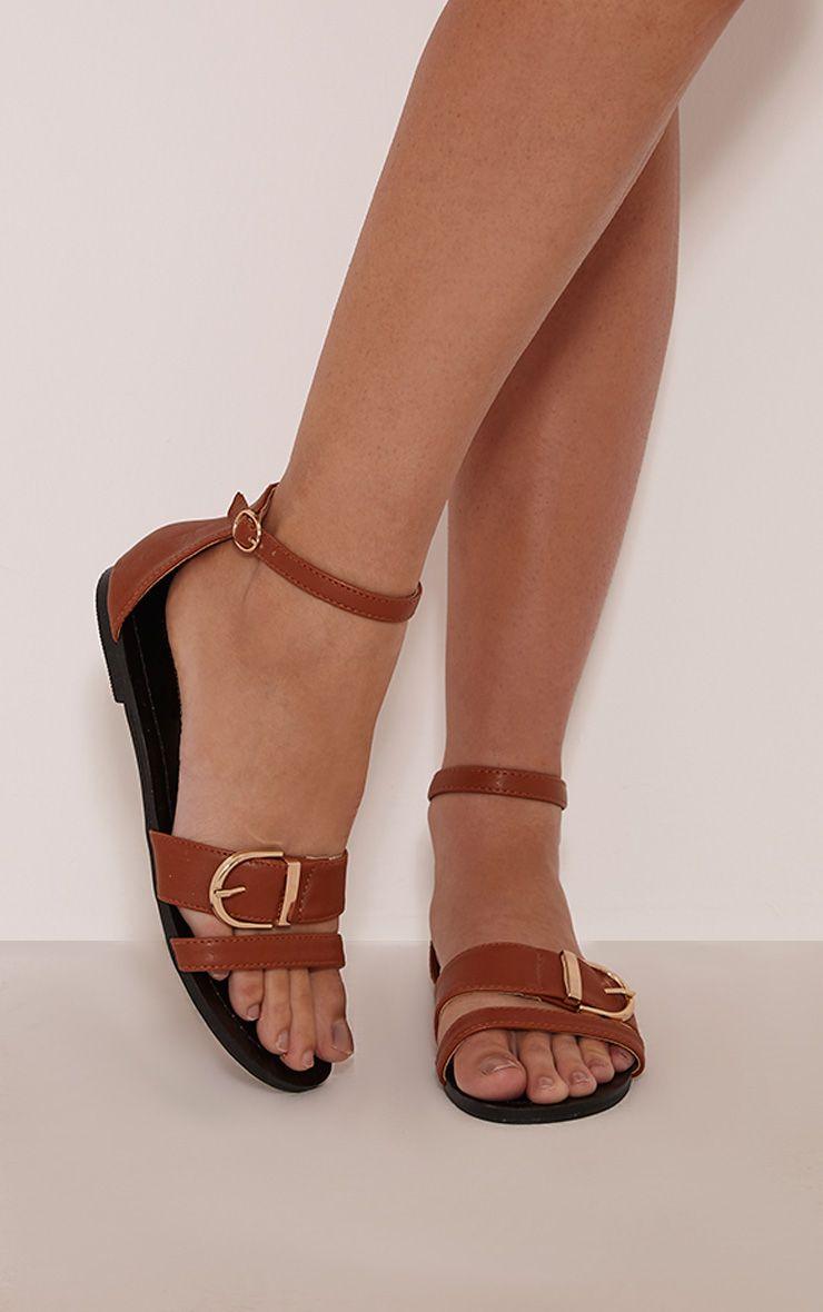 Carolla Tan Faux Leather Buckle Detail Sandals