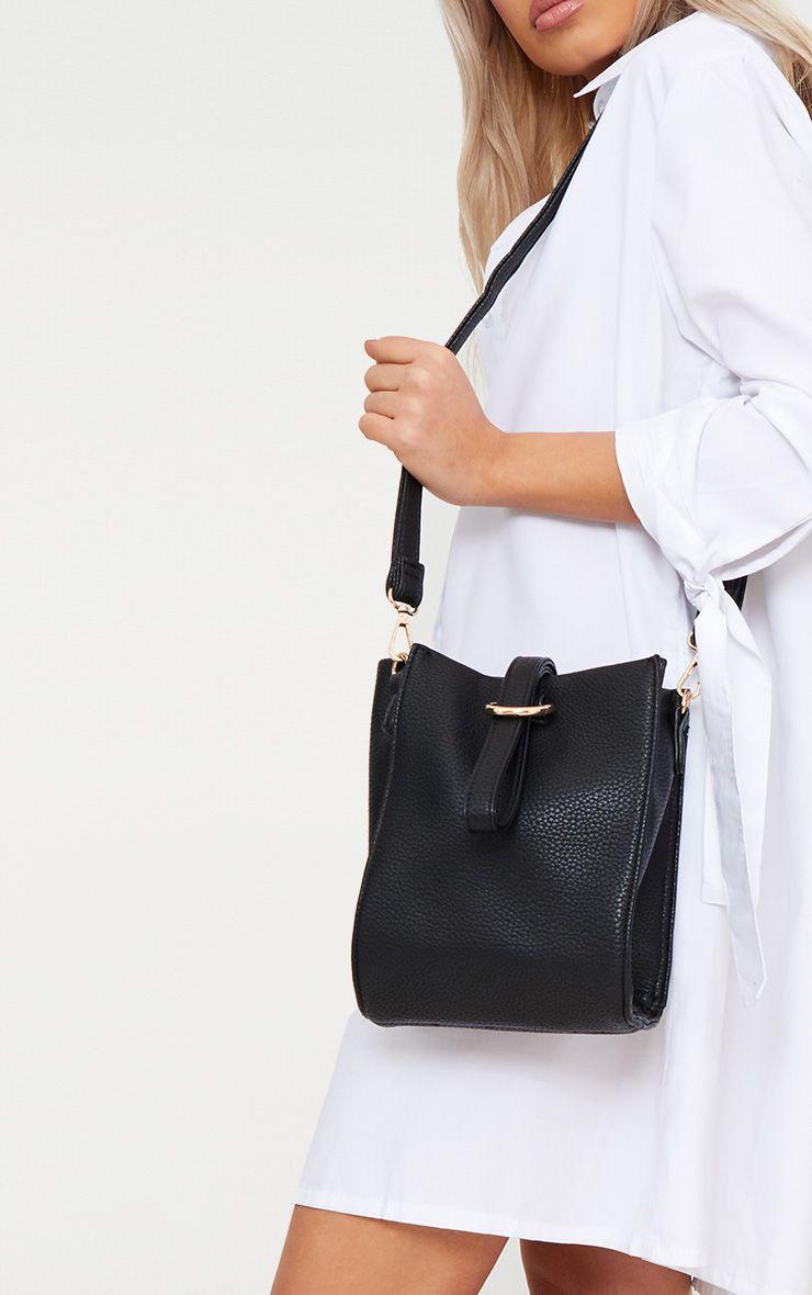 Black Loop Handle With Gold Ring Detail Bag