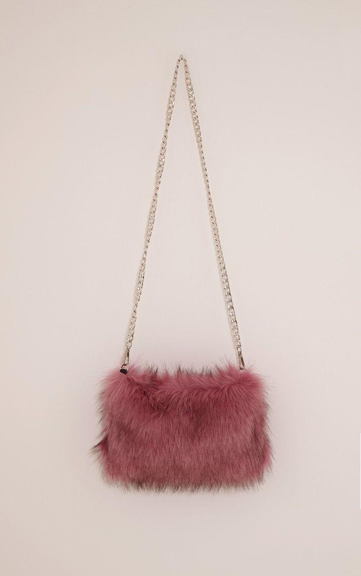Christah Rose Faux Fur Chain Shoulder Bag