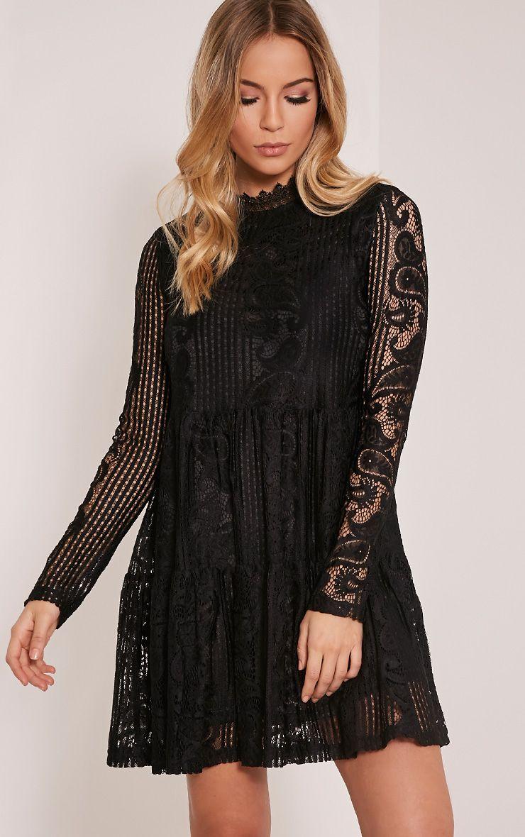Saffron Black High Neck Lace Skater Dress