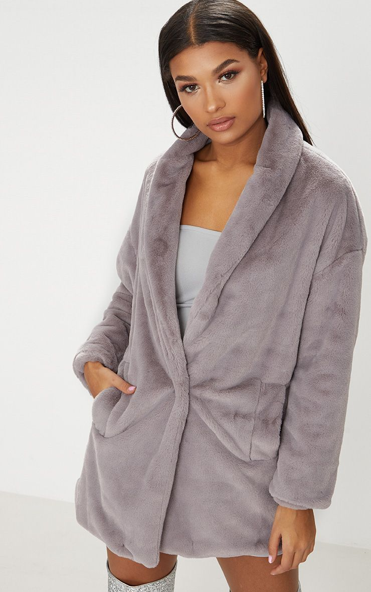 Grey Faux Fur Longline Coat