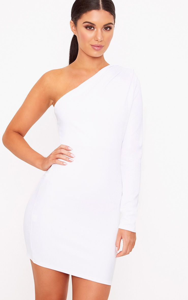 White One Shoulder Ruched Bodycon Dress