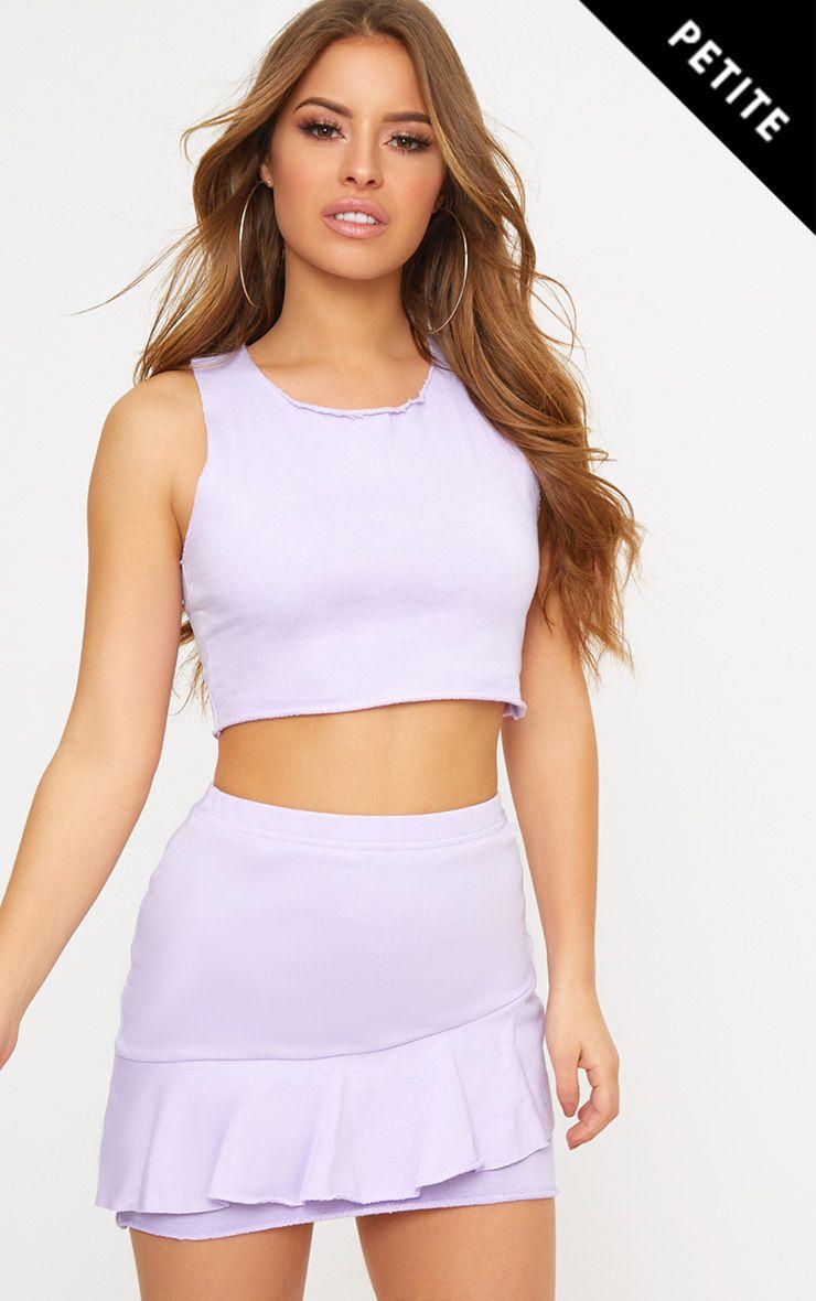 Petite Lilac Sweat Ruffle Skirt