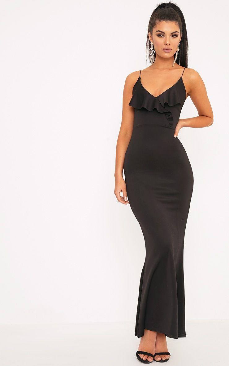 Moisha Black Frill Detail Fishtail Maxi Dress