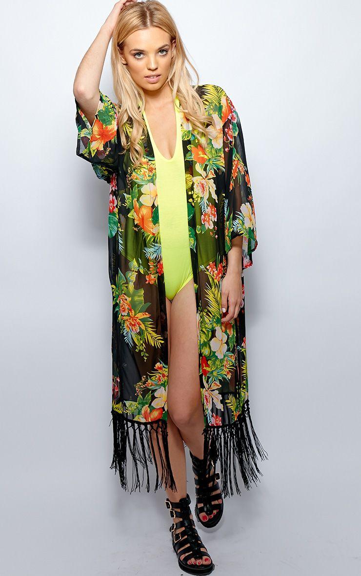 Belle Green Tropical Print Kimono 1