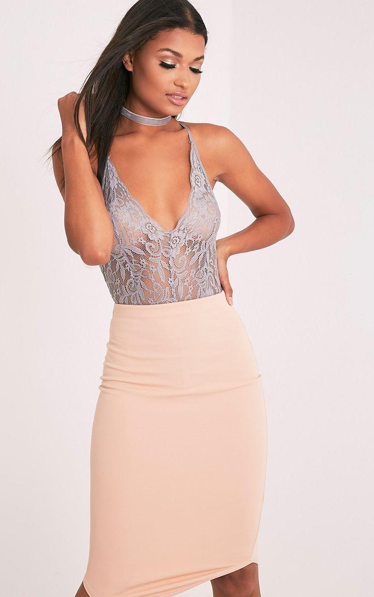 Madeline Grey Lace Crop Strap Bodysuit 1