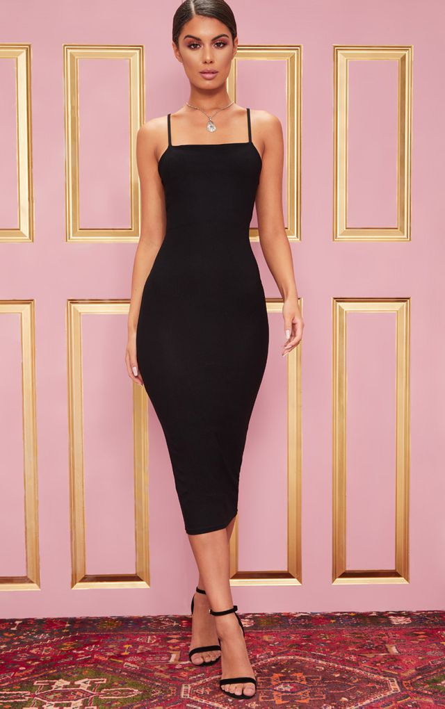 Black Long Sleeve Plunge Side Split Midi Dress Black Long
